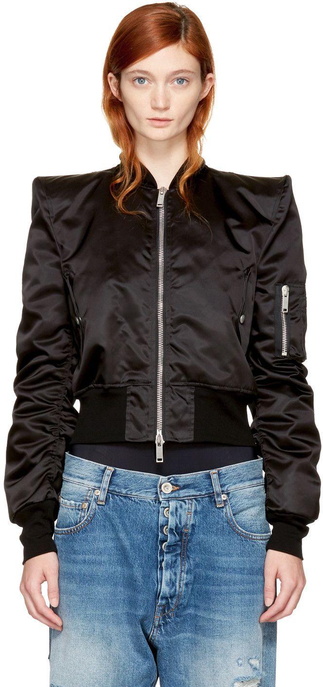 Unravel - Black Nylon Chopped Spalline Bomber Jacket
