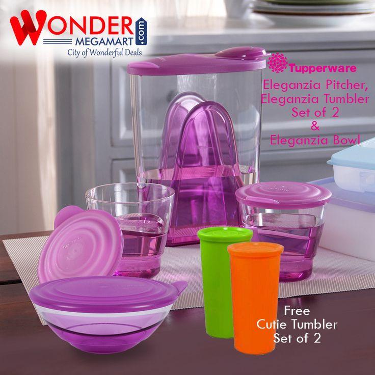 Best #Tupperware #Eleganzia Pitcher, Eleganzia Tumbler Set of 2 & Eleganzia Bowl | Wondermegamart.com