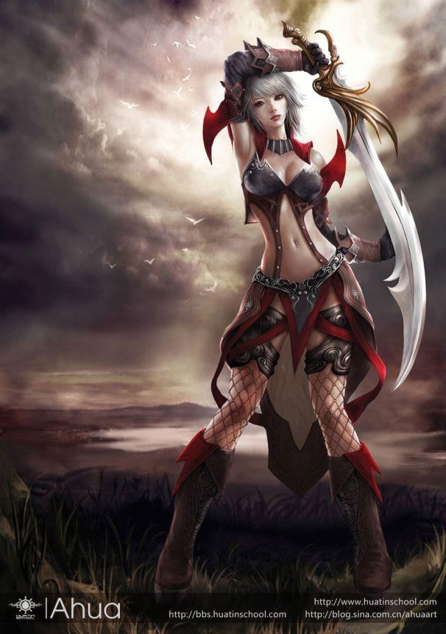 Anime fantasy girl assassin