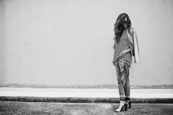 Amilita x Lex Weinstein in the Ziggy Jacket | Carly Brown Photography | sequin jacket | street style | model | stripes | denim | casual | weekend outfit