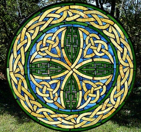 Beautiful Celtic knot stained glass work!