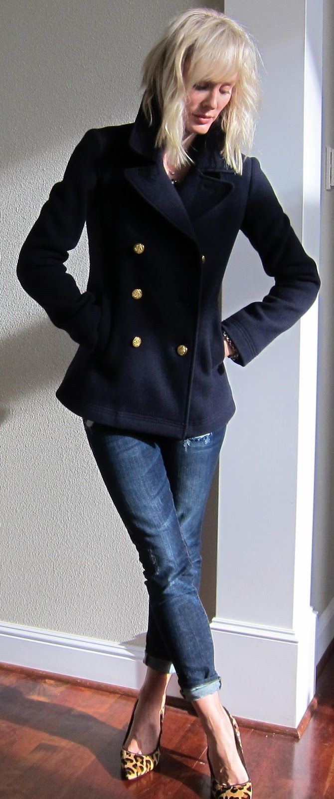 navy pea coat...love!