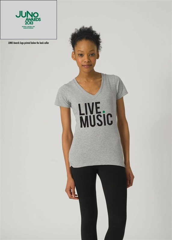 The Live.Music collection embodies the essence of The JUNOS' appreciation and celebration of Canadian music and talent. A throw-back to your favourite worn-in classic concert tee, this Live.Music Collection limited edition V-Neck Tee is made with a 50% organic cotton, 50% bamboo fabric blend, giving it a super-soft touch and vintage-appeal.
