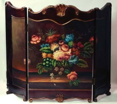 victorian fireplace screens | Hand painted Fireplace Screen