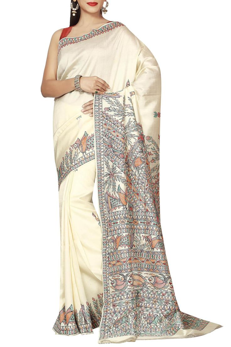 Imperial White Madhubani Hand Penned Pure Tussar Soft Silk Saree