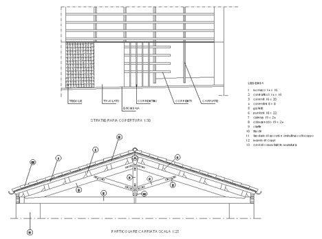 Capriate in legno dwg particolari costruttivi nel 2019 for Sezione tetto in legno dwg