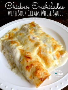 These have been a family favorite for so many years in our house. Chicken Enchiladas with Sour Cream White Sauce
