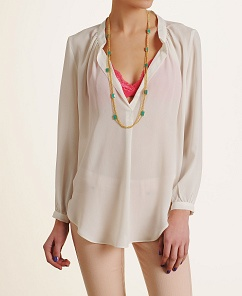 Olivaceous Notched Long Sleeve Blouse 53