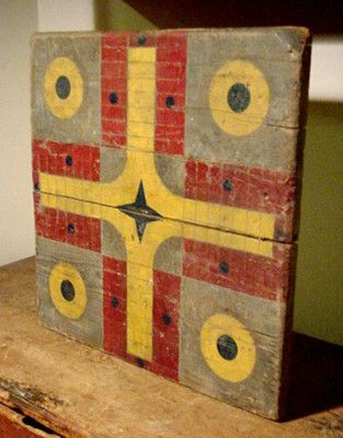 Primitive Wooden Parcheesi Gameboard in Red, Blue and Mustard Paint $275.00