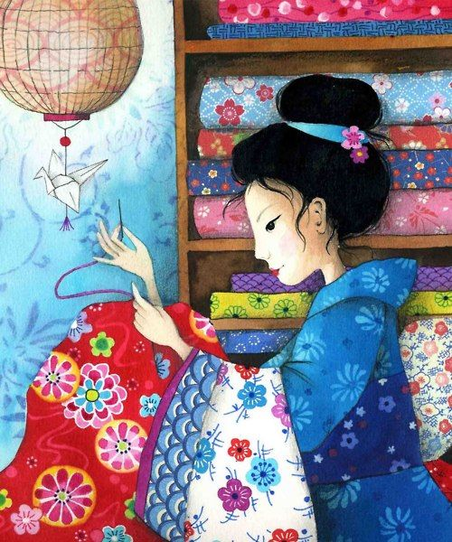 sewing illustration: No Sashiko patterns that I can see, just a beautiful reminder of where they came from.