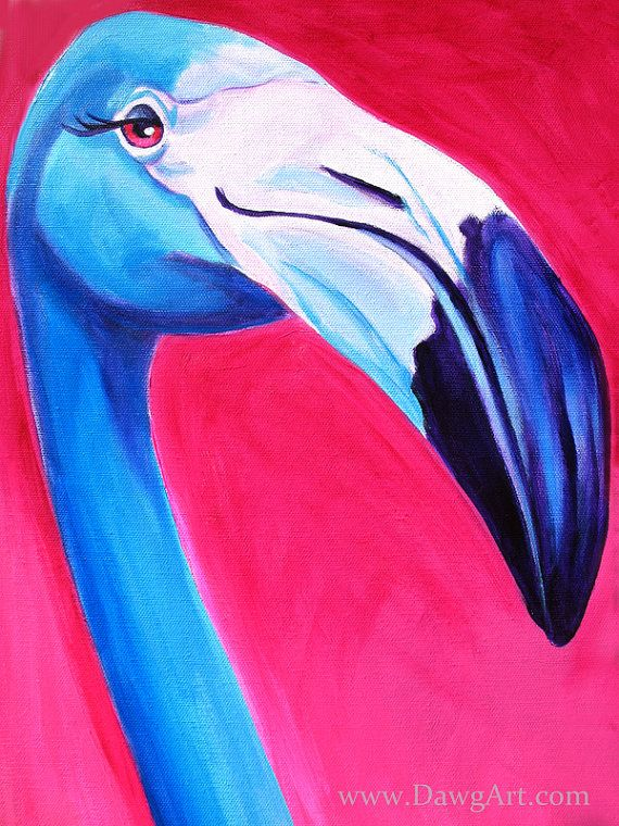 Flamingo Dawgart Exotic Bird Art Bird Painting