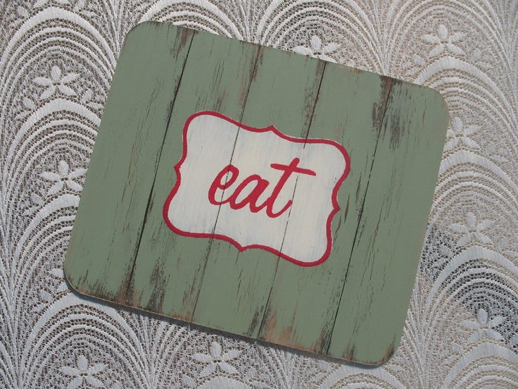 "Distressed Wooden Place Mats Set of 4.Available in ""eet""& ""eat"" designs. R150.00 Available in various pastel colors Home Decor Gifts - Home Decor Ideas - Gift Ideas - DIY ideas"