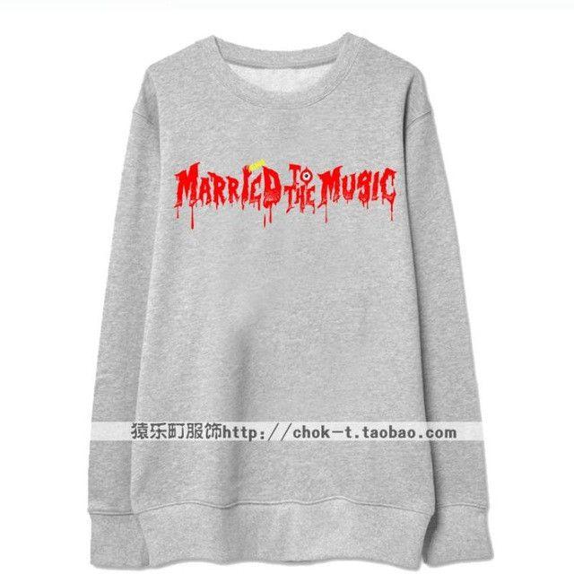 Kpop shinee album married to the music printing thin hoodie for men women fashion bleeding letters o neck sweatshirt plus size