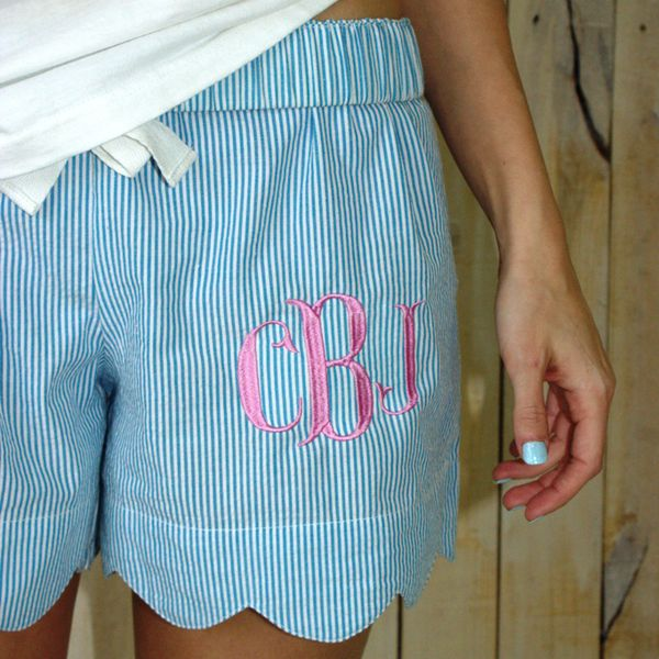 Ladies' Scallop Edge Seersucker Lounge Shorts