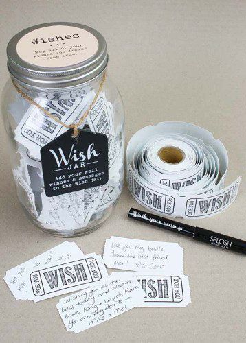 Have your guests give you wedding wishes with this wishing jar! Perfect for a bridal shower or as a wedding fun guest book!