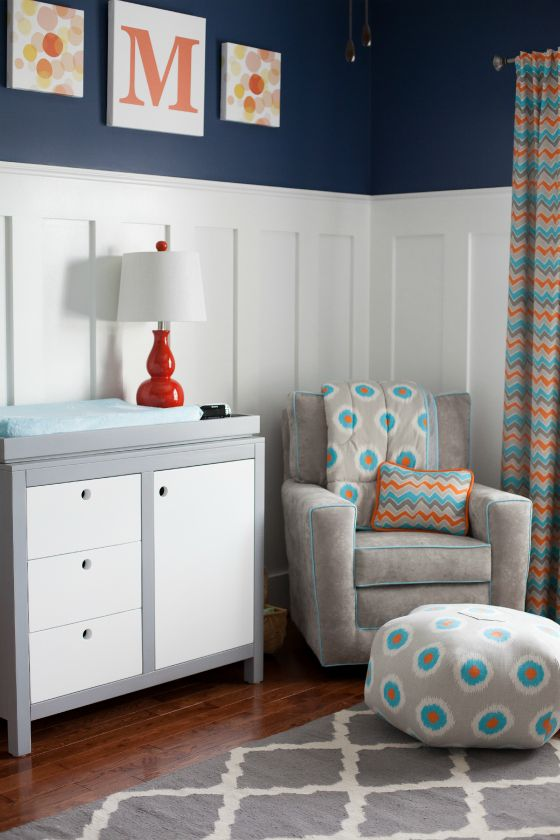 Orange, Gray and Blue Nursery - love the navy walls, wainscoting and curtains/bedding from @Momma G Designs!