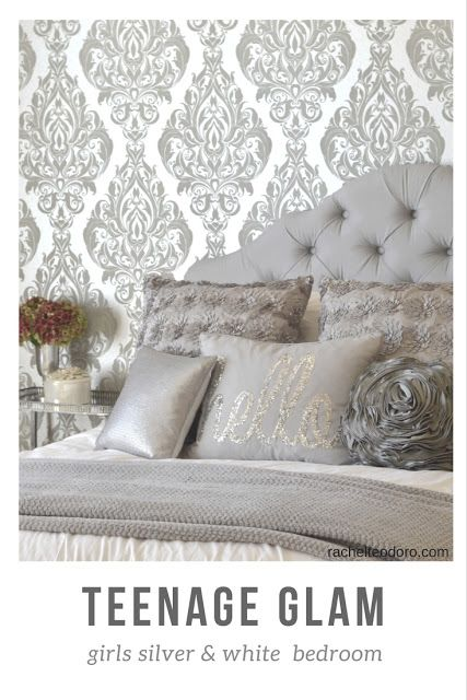 Glam Silver and White Teen Girl Bedroom Makeover