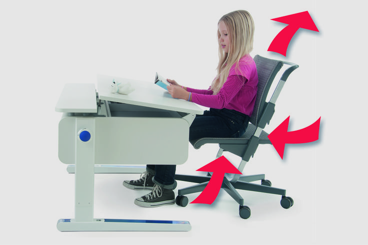 Champion desk & Scooter chair by Moll. Scooter chair has an adjustable height back rest, seat pan & chair height allowing for the growth of a child from age 5 to teens & ensures the best posture when appropriately adjusted. The desk (120 cm w x 72 cm d )  is height adjustable, with a tilting desk-top & can be added on to in all dimensions. Includes a complimentary ergonomic assessment of your child's needs by qualified health professionals.