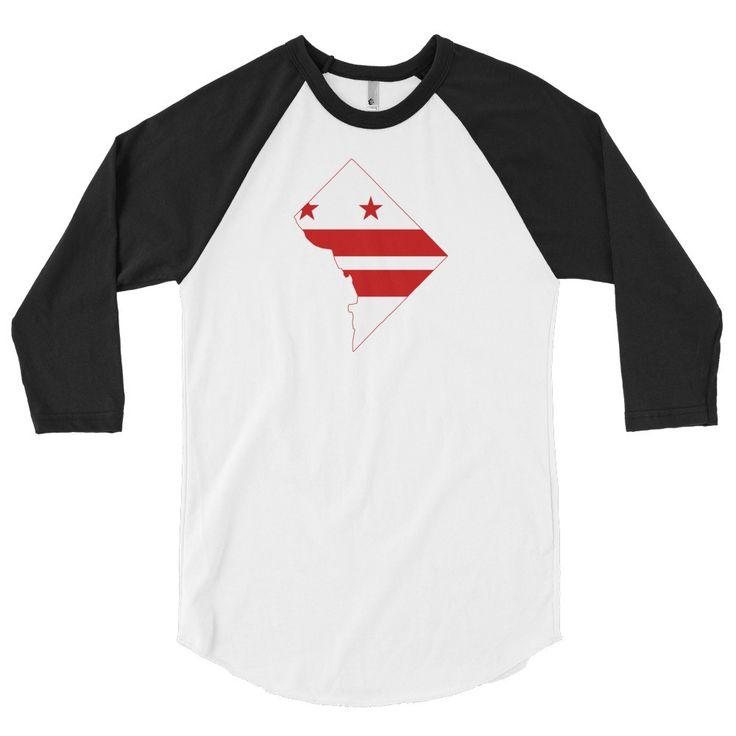 District of Columbia Flag 3/4 Sleeve Raglan Shirt
