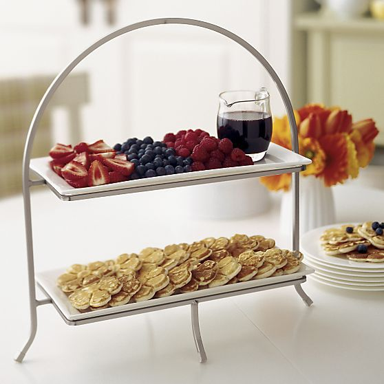 mini-pancakes & fruits    Cambridge Two-Tier Server with Plates in Specialty Serveware | Crate and Barrel
