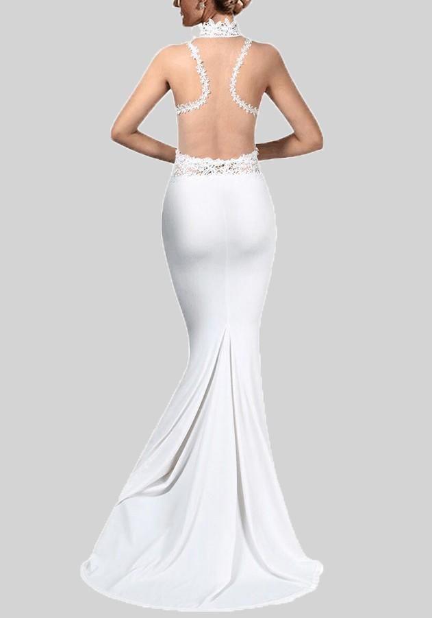 ad0ed87bf8e White Love Lace Grenadine Mermaid Bodycon Elegant Banquet Party Wedding  Maxi Dress