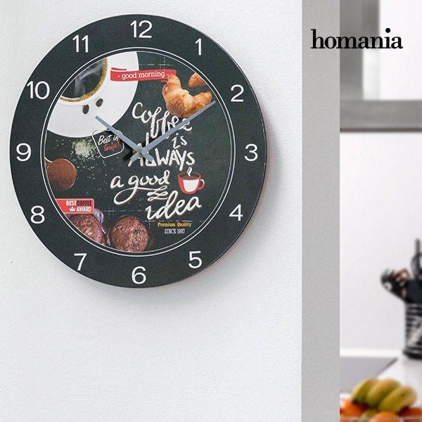 5,00€ · Reloj de pared Food Homania · ¡Te presentamos el reloj de pared Food Homania, el reloj perfecto para decorar cocinas, bares, restaurantes, etc.!  Fabricado de madera Funciona con pilas (1 x AA, no incluida) Medidas (diámetro x grosor) aprox.: 29 x 0,5 cm · Hogar y jardín > Decoración > Relojes