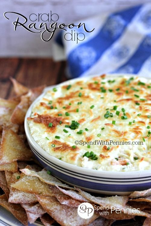 Crab Rangoon Dip with Wonton Chips! I truly love this stuff, and I can't get enough of it either.