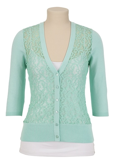 V-Neck Lace Front Cardigan available at #Maurices