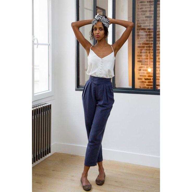 les 25 meilleures id es concernant tenue de pantalon en lin sur pinterest pantalons blancs en. Black Bedroom Furniture Sets. Home Design Ideas