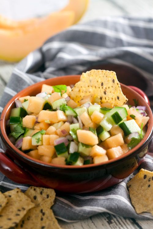 This easy Cantaloupe and Cucumber Salsa recipe goes perfectly with Food Should Taste Good multigrain tortilla chips.
