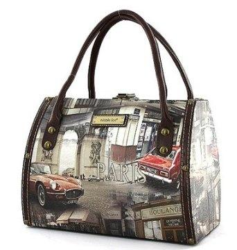 Paris Print Purse Nicole Lee Handbag Body Tote Bag Smal