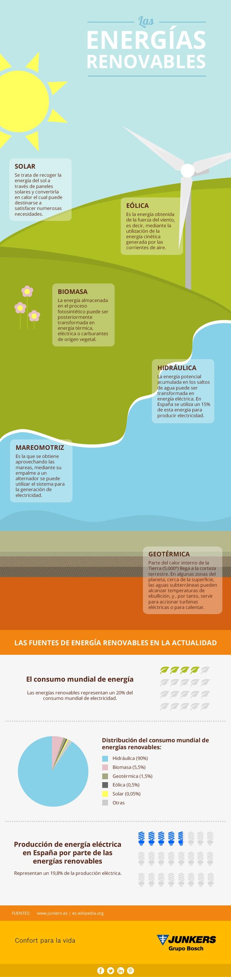 """""""Las fuentes de energía renovables en la actualidad"""" (20% del consumo mundial de energía)."""