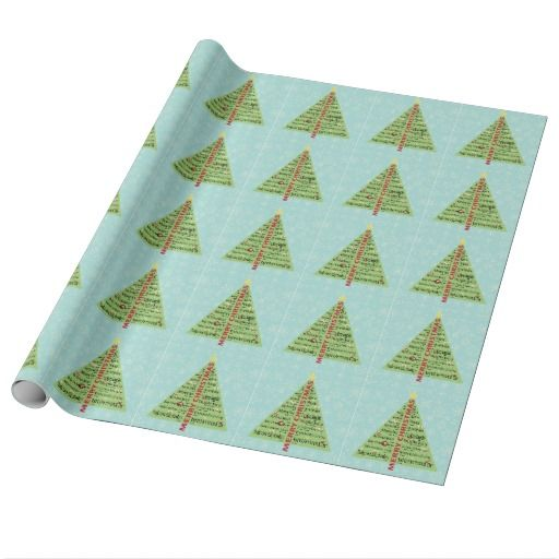 Merry Christmas in Other Languages Tree Gift Wrap