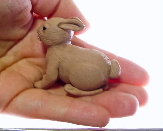 Miniature Bunny Rabbit Sculpture Handmade in by MagicByLeah, $30.00: Rabbit Sculpture, Handmade Art, Alert Bunnies, View, Bunnies Rabbit, Products, Miniatures Bunnies
