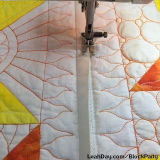 This month we've pieced and quilted our 9th block for the Machine Quilting Block Party which means three rows of the Sunshine Surprise quilt can be connected together Quilt-As-You-Go style! I love see
