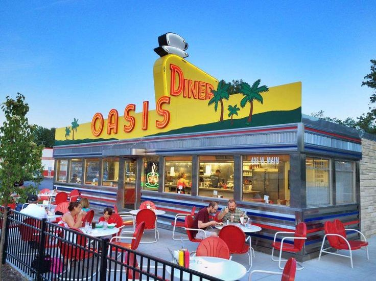 Oasis Diner in Plainfield, Indiana, looks straight out of a movie. That neon sign with the coffee cu... - Oasis Diner
