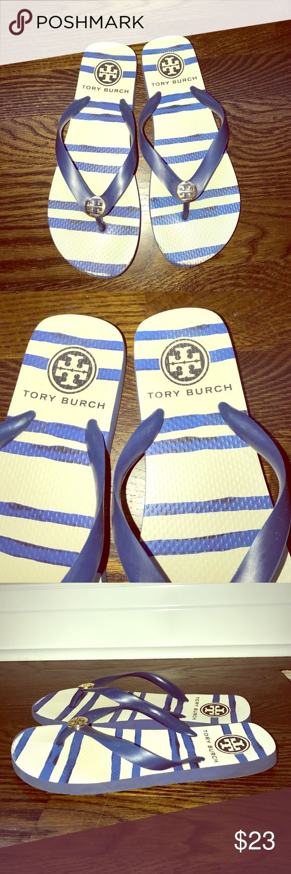 Tory Burch Classic Flip Flops Used, still in good condition (barley noticeable usage) Blue and White striped. Smoke free and pet free home. Tory Burch Shoes Sandals