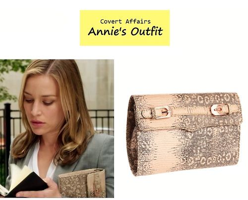 "On the blog: Annie Walker's (Piper Perabo) lizard print buckled clutch | Covert Affairs - ""Rock A My Soul"" (Ep. 404) #tvfashion #accessories #fashion #tvstyle"