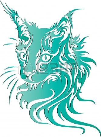 Cat illustration animale de portrait de t-shirts conception de tatouage de croquis Banque d'images - 21489490
