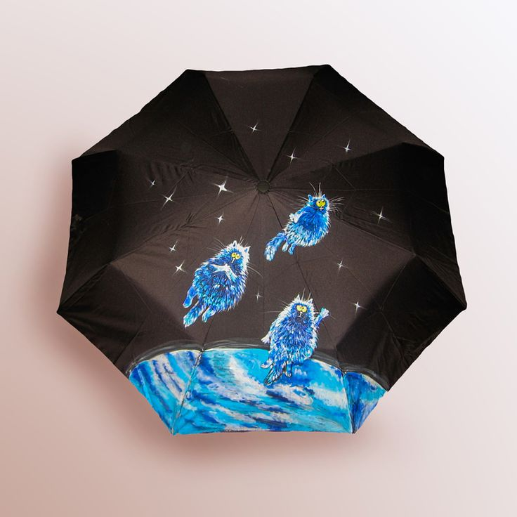 Зонт Коты в космосе купить в Санкт-Петербурге #зонт #зонтик #umbrella #parasol #design #спб #россия #роспись #хендмейд #handmade #рисунок #drawing #draw #style #styling #складной #дизайнерский #заказ #крутой #черный #дождь #прикольный #подарок