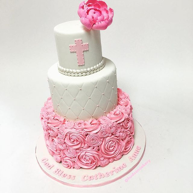 Baptism cake + sugar peony + pink and white = 💕🙌🏻⛪️ www.hudsoncakery.com