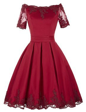 5f22882f2418 Burgundy Short A-Line Dress Featuring Lace Appliquéd Off Shoulder Bodice  with Sheer Sleeves and Lace-Up Back