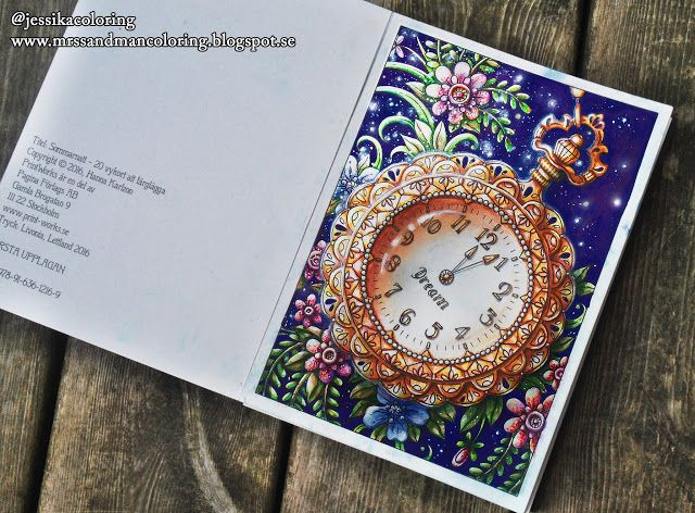 coloring: Dream time! Clock from Hanna Karlzon Sommarnatt postcard book. Faber castell pitt brush and carand'ache pastel pencil.