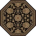 Sensation Black 5 ft. 3 in. x 5 ft. 3 in. Octagon Traditional Area Rug