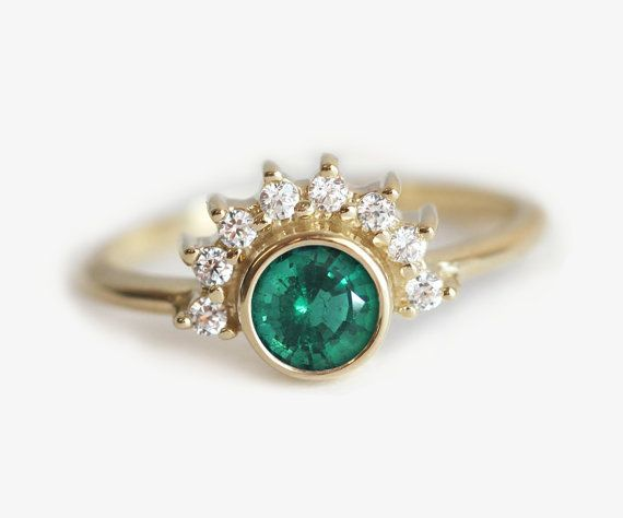 0.4 carat emerald ring. So feminine and elegant! 18K gold diamond prong engagement ring with a natural round emerald. IF YOU WANT A CUSTOM ring please