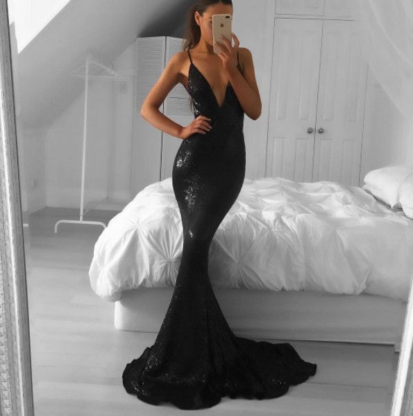 Black Sequin Prom Dress Party Dress