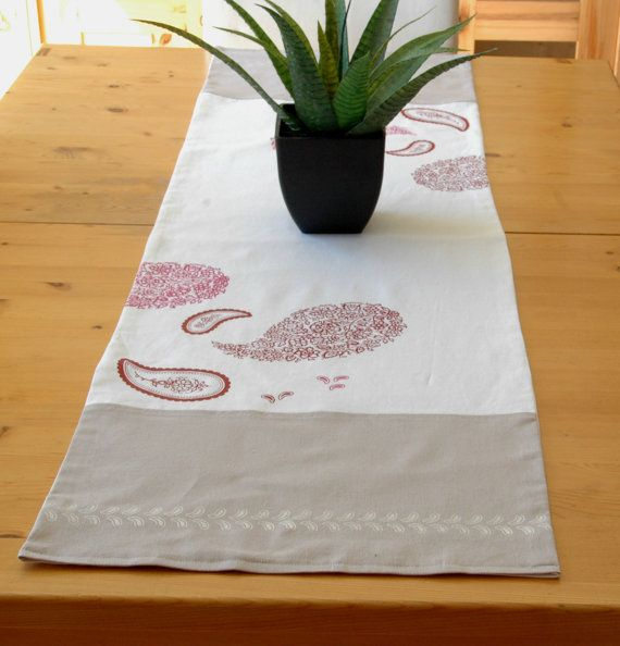 Hand painted table runner 100 linen lined with by CreationsNikki, $48.00