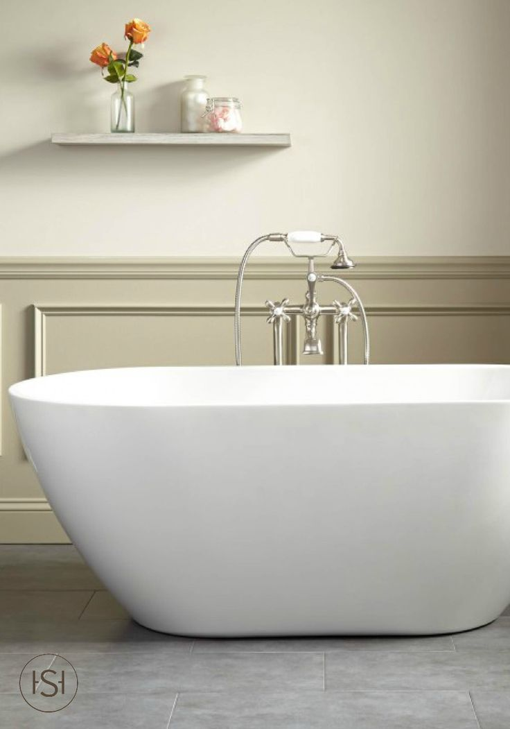 signature hardware freestanding tub. enhance the appealing design of your master bath with this contemporary freestanding tub from signature hardware. its high walls allow you to sit back and hardware