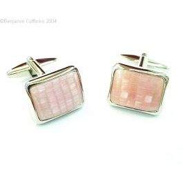 The Challenger Cufflinks - Challenge anyone to a cufflink duel. Beautiful soft pink stones set in rhodium plated cufflinks.  These look great on a plain white shirt.