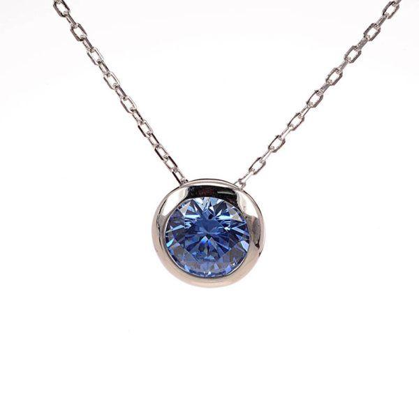 Κολιέ  μπλε swarovski  ασήμι 925